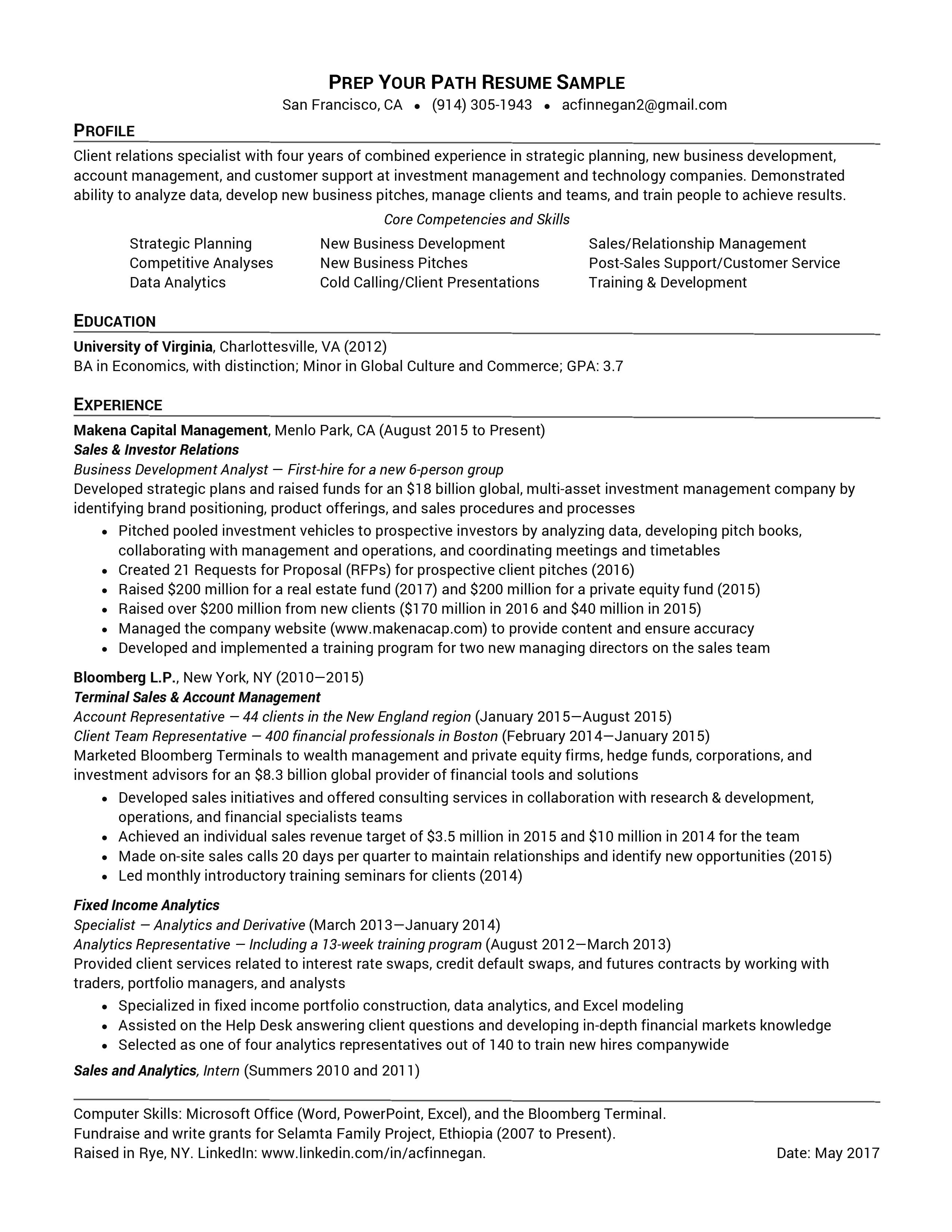 recent grad resume sample