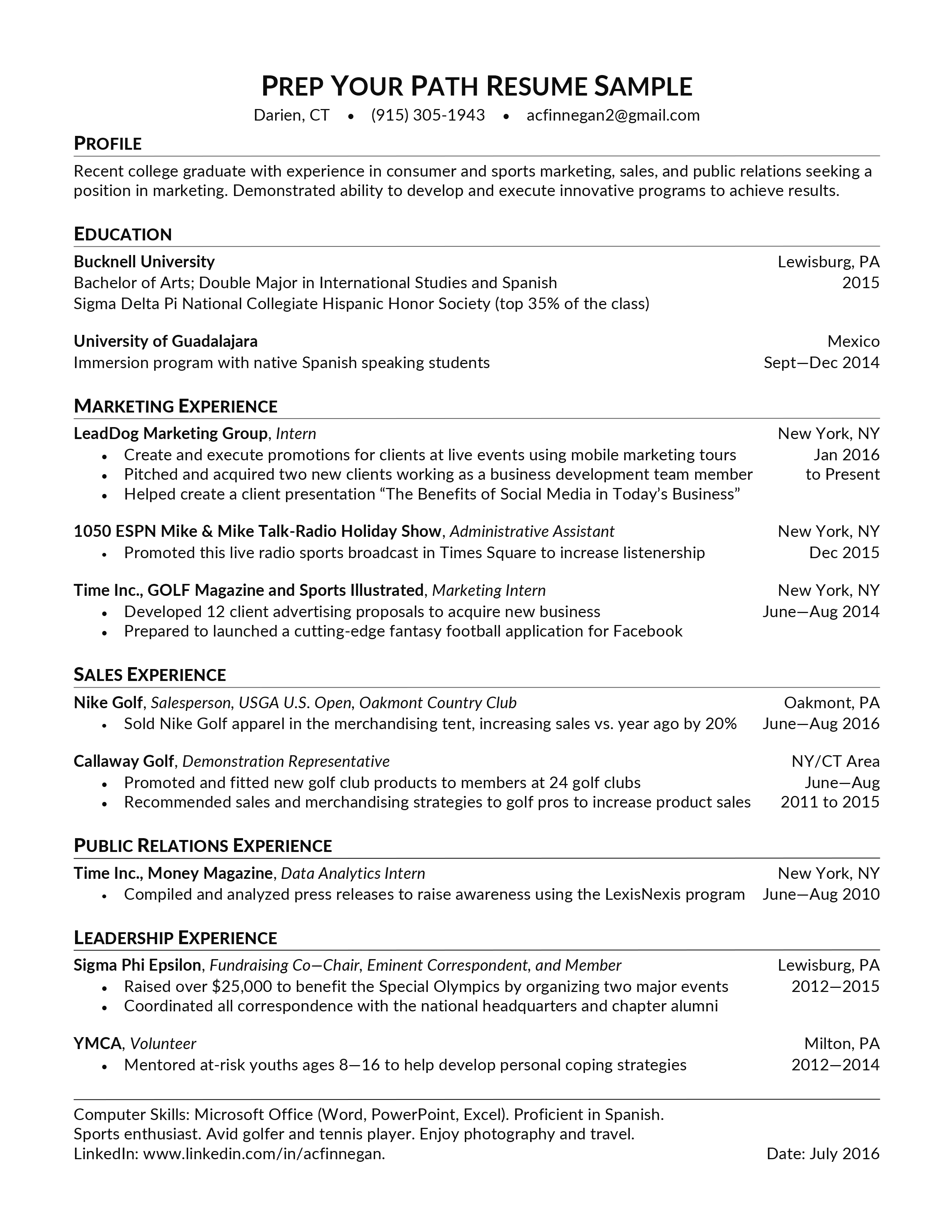 Resume Samples Students Prep Your Path Westchester Ny